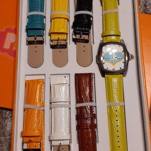 Invicta watch with interchangeable leather bands